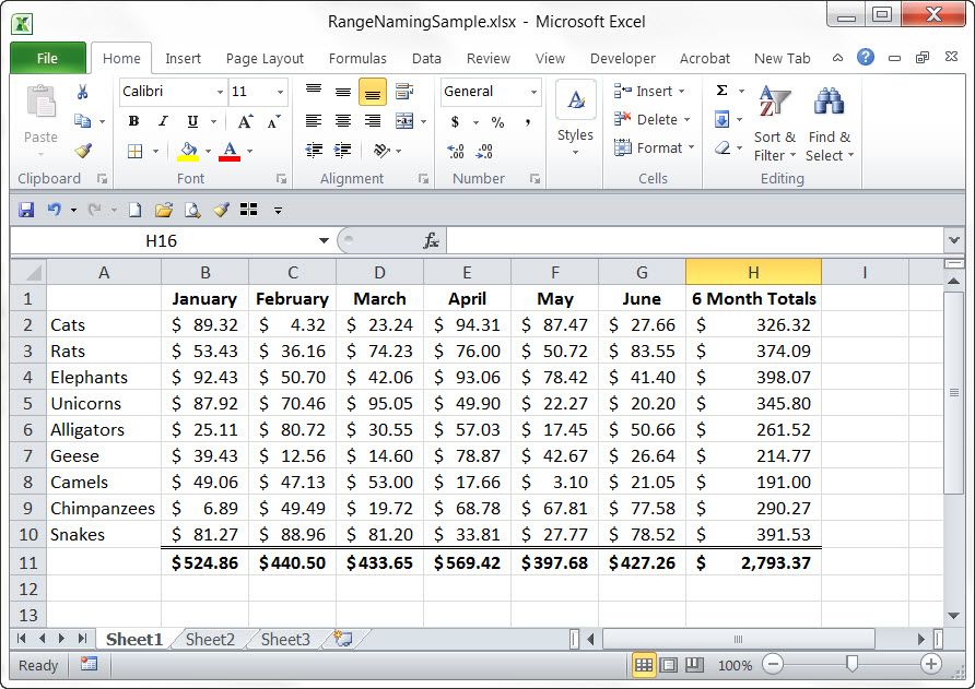 Excel Spreadsheet Example