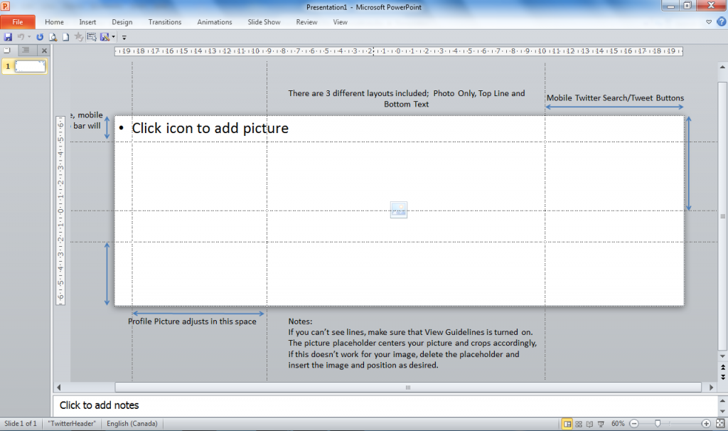Picture of the workspace in PowerPoint