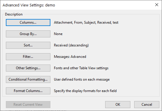 Outlook Advanced View Settings dialog