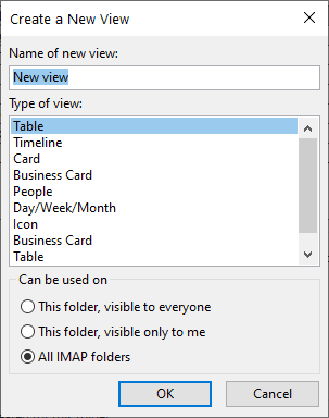 Outlook Create a New View dialog